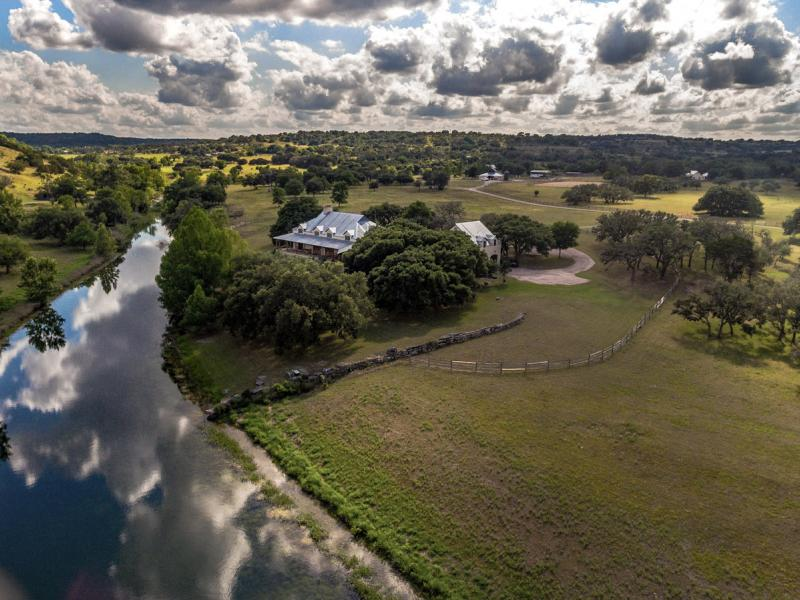 aerial view of creek tx land for sale