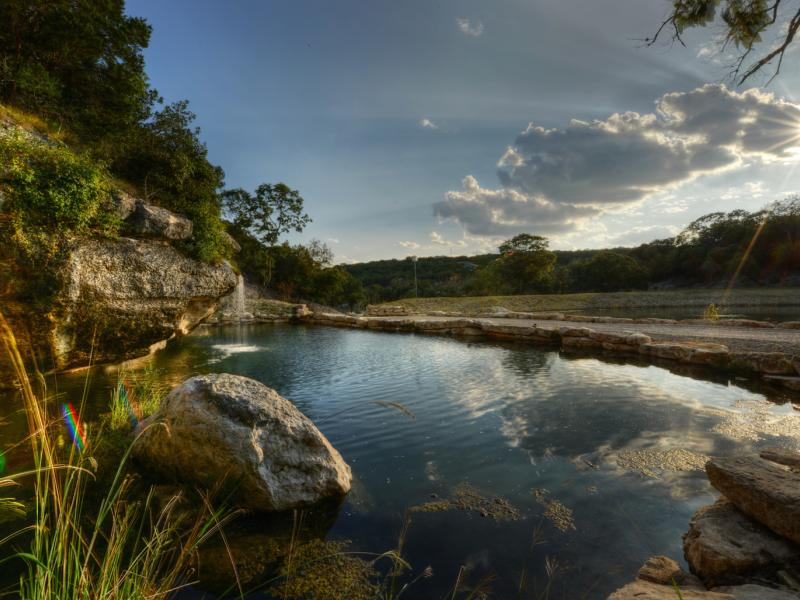 Main water fall in 7 Springs Ranch available for sale in the Hill Country
