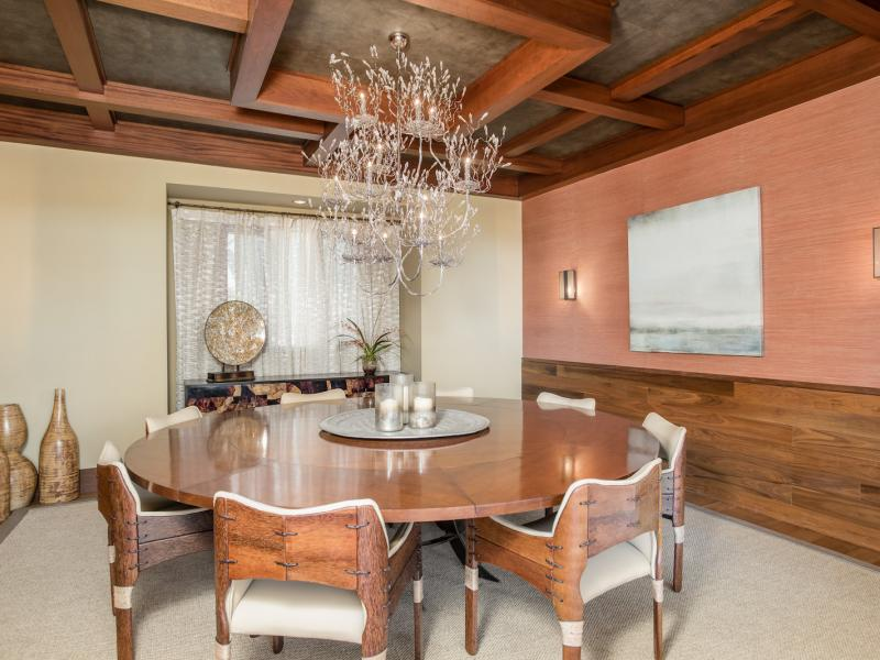 Wooden dining room in 7 Springs Ranch is available for sale in Texas.